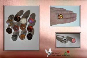 Bijou fantaisie - Bague « bouton pression » + trois « pressions » au choix Support argenté réglable