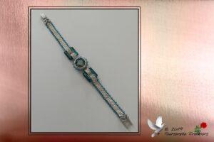 Bijou fantaisie - Bracelet tissage peyote perles miyuki 11 et rocailles 15, Tons argent et bleu, Rivoli et carrés Swarovski bleu, Fermoir argenté