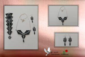 Bijou fantaisie - Parure «flèche» (collier, bracelet et boucles d'oreilles). Tissage peyote et herringbone en perles délicas miyuki.